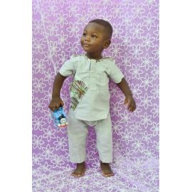 Ensemble chemise-pantalon lin assorti au pagne pour enfant de 18 à 24 mois