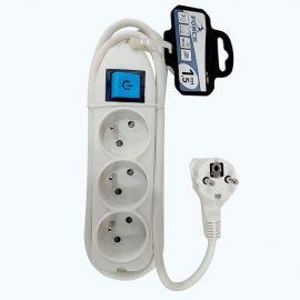 Bloc Multiprise Avec Interrupteur - RAL-3001 - 3 Prises 16A - Rallonge 1,5m - Blanc