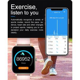 MC28 Montre Connectée Bluetooth de Sports Multifonctionnel de Fréquence Cardiaque et de Pression Artérielle d'Oxygène - Bleu