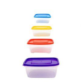 tajplast Pack De Boites ( 3L / 1,75L / 1L / 0,5L ) Pour Stockage De Nourriture - Multicolore