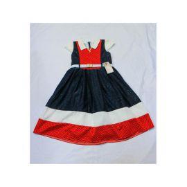 Robe enfant bleu-blanc et rouge satinée