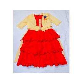 Robe rouge à nœud avec veston Belge