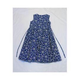 Robe Bleu Blanc Fleurie carotte avec petit Nœud