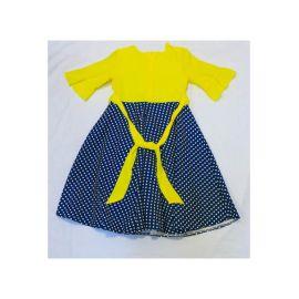 Robe Jaune Bleu à pois Blanc