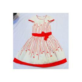 Robe Rouge Blanc à Nœud sur coté