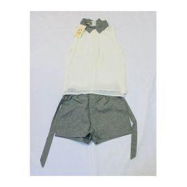 Ensemble culotte et haut gris blanc