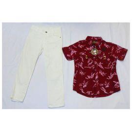 Ensemble Chemise Rouge Adidas + pantalon Blanc