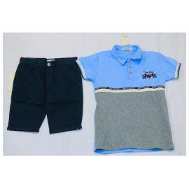 Ensemble Tee shirt bleu ciel-gris + culotte bleu