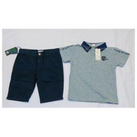 Tee-shirt gris, colle bleu nuit + culotte bleu nuit