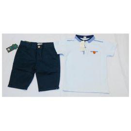 Ensemble tee-shirt blanc col mao à carreaux + culotte bleu