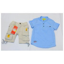 Ensemble chemise bleu ciel + culotte kaki