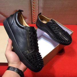 Chaussure Christian Louboutin calfskin Junior Spikes Cuir Noir