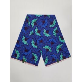 Complet Pagne Wäx hibiscus - 6 Yards - BLEU