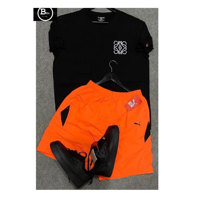 T-Shirt + Short Pour Homme - Noir / Orange + Air force
